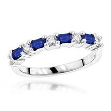 2Ct Baguette Cut Blue Sapphire Diamond Minimal Wedding Band 14K White Gold Over