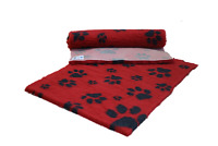 VETFLEECE Non Slip Deep Pile Fleece Vet Bed Roll Dog Cat Red Cage Charcoal Paws