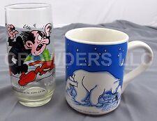 1982 Smurfs Gargamel Azrael Glass Cup & 1997 Coca-Cola Coke Tall Coffee/Tea Mug