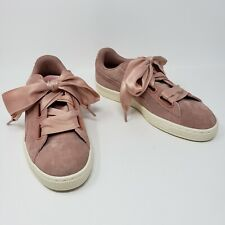 Puma Heart Pink Blush Suede Ribbon Sneakers Tennis Shoes Womens 8 Extra Laces