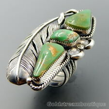 HANDCRAFTED UNIQUE STERLING SILVER GREEN TURQUOISE SHADOWBOX FEATHER RING (10.5)