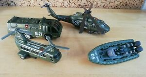 Kids Army Force Toy Helicopter/Chinook/Boat/People Carrier Toys Bundle