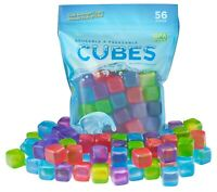56 Piece Plastic Reusable Ice Cubes Coolers Refreeze Pool Party BPA FREE
