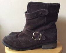 Diesel Brown Suede Biker Boots Leather Fleece Lined Chunky UK 5 / 38 RRP £195