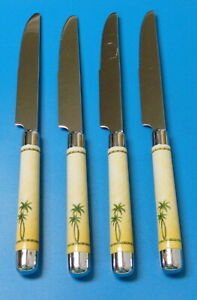 4 CAMBRIDGE PALM TREE DINNER KNIVES STAINLESS STEEL w/ PLASTIC & CHROME HANDLE