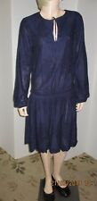 Tommy Hilfiger size 2 navy cotton embroidered long sleeve blouson dress, NWT