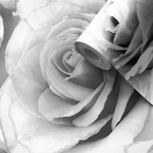 Muriva Madison Wallpaper Glitter Sparkle Floral Rose Luxury Silver Flower Grey