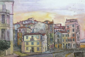 VINTAGE WC AND INK PAINTING CITYSCAPE EXPRESSIONISM