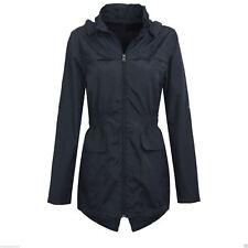 Womens Plus Size Lightweight Hooded Showerproof Rain Coat Jacket Mac Navy 10