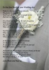 A4 POEM TO YOUR SON ON HIS WEDDING DAY IDEAL FOR FRAMING PERSONALISED