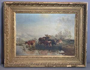 Ca.1900 Antique PASTORAL LANDSCAPE Old COWS at RIVERS EDGE Pond OIL PAINTING