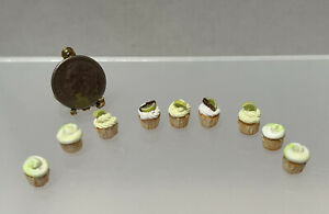 Vintage Artisan FANCY Lime Cupcakes In Paper Liners Dollhouse Miniature 1:12