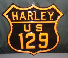 """NOS Harley Davidson ROUTE 129 STREET SIGN Dragons Back STEEL HEAVY 16.5"""" X 16"""""""