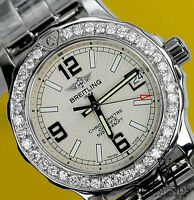 Women's Diamond Breitling Colt 33mm White color Dial with Custom Diamond Bezel