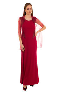 RRP €735 CARLA RUIZ A-Line Gown With Scarf Size 42 / XL Rhinestones Scoop Neck