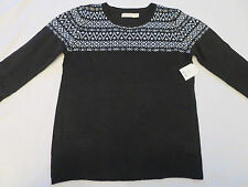 NEW Faded Glory Pull Over Knit Black White Sweater Womens M 8-10