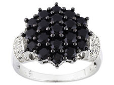 Size 6 - 2.26ct Round Black Spinel .23ctw Round White Zircon Sterling Ring
