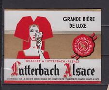 Ancienne étiquette Bière Alcool France Brasserie  Lutterbach Alsace Femme