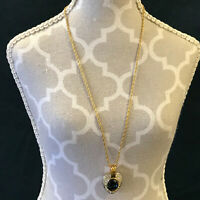 Lanvin Germany Pendant Necklace Blue and White Stones Gold Tone Vintage