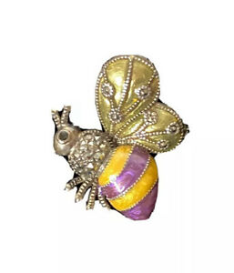 NWT Judith Jack Sterling Bumble Bee Brooch Pin Purple Pin Summer Fun Insect