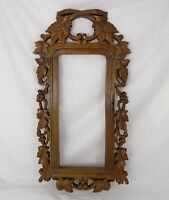 Antique French Hand Carved Oak Wood Openwork Panel/Frame - Black Forest Mirror