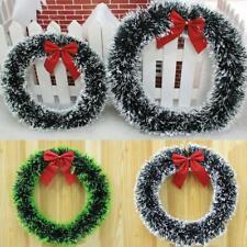 35cm Christmas Bowknot Wreath Door Hanging Ornament Garland Wall Decoration HOT