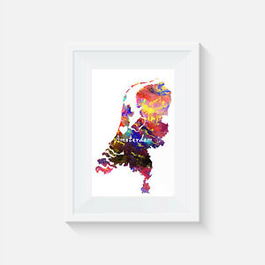 Amsterdam Netherlands, watercolour, print, poster, picture, quote, wall art