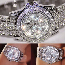 Women Ladies Wrist Watch Watches Bracelet Rhinestone Crystal Alloy Analog Quartz