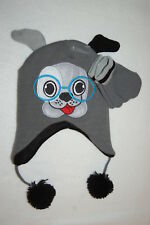 837ceed307e5a1 Toddler Boys WINTER HAT & MITTENS Animal Critter CUTE PUPPY DOG w/ GLASSES  Gray
