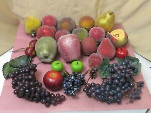 Large Lot of  Faux Artificial Fruit some frosted