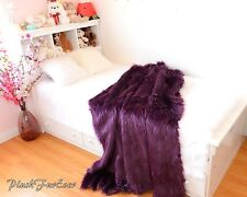 Faux Fur Throw Blankets 4' x 5' Purple Lavender Comforters Nursery Modern Decor