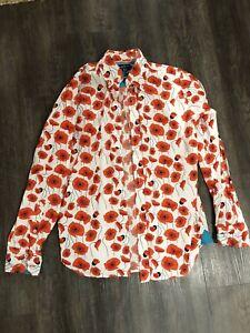 David Watts Floral Poppy Shirt - Size M