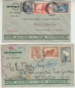 CONDOR ZEPPELIN 1938 2x CONDOR illustrated covers to FLENSBURG GERMANY & LONDON