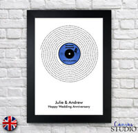 A4 Personalised Wedding Song Lyrics Vinyl Record Framed Print Anniversary Gift