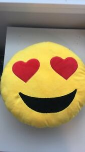 "13"" Emoji Emoticon Cushion Pillow Stuffed Soft (must send money in mail)"