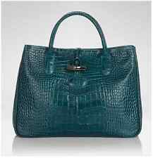 Auth. Longchamp 'Roseau' Croc Embossed Tote Duck Blue (VERY RARE!) Gorgeous Bag.