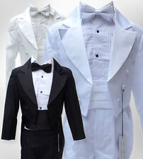 BABY BOYS 5 PCS TUXEDO CHRISTENING TAIL SUIT PAGE BOY COMMUNION OUTFIT SUITS