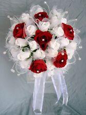 BIANCO Lattice Schiuma ROSE & Borgogna ROSES con Diamante centri Brides Posy BOUQUET