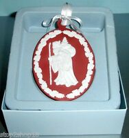 Wedgwood Red Jasperware Christmas Ornament SANTA CAMEO Oval Disc New