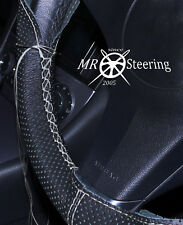 FOR MAZDA 2 2002-2006 PERFORATED LEATHER STEERING WHEEL COVER GREY DOUBLE STITCH