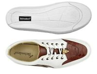 Belvedere Walking sneakers Irvin Genuine Ostrich and Soft Calf Cognac White 6002