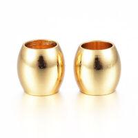 100pcs Golden 4mm Large Hole 304 Stainless Steel Barrel Metal European Beads 6mm