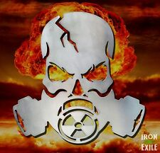 Gas Mask Skull Apocalypse Metal Art Wall Sign Garage Zombie End of Days Mancave