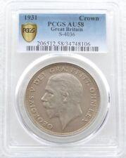 1931 Royal Mint George V Wreath Crown Silver Coin PCGS AU58