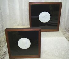 ANTIQUE SET 2 SHADOW BOX FRAMED WHITE BISQUE PORTRAITS ROYALTY EMPEROR AND WIFE