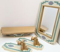 VTG Home Interiors Wall Decor Aztec Mirror Shelf Sconces 4 pc Southwest Burwood