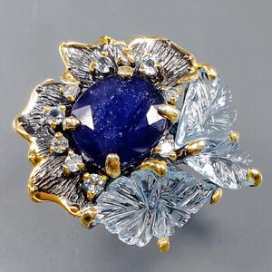 Fine Art Blue Sapphire Ring Silver 925 Sterling  Size 7.75 /R164619