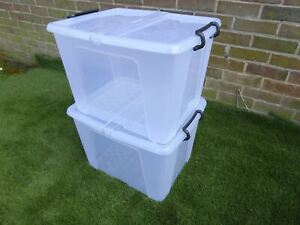 2 x LARGE 40Ltr Box And Lid 49 x 39 x 32cm