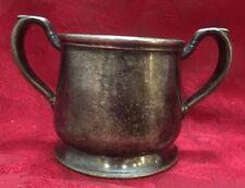 Wear Brite Nickel Silver Soldered Sugar bowl w 2 Handles Vintage