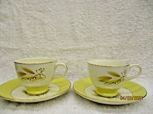 Century Service Autumn Gold Set of 2 Cups & Saucers Brown/Yellow Wheat